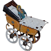Antique German Tin Litho Penny Toy Doll or Baby Carriage