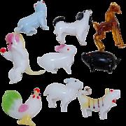 Miniature set of 9 Glass Animals