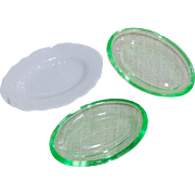 3 Dollhouse Dinner Platters Porcelain and Green Glass