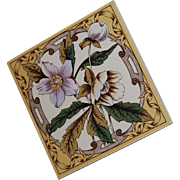 English Brown Transferware Polychrome Tile
