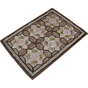 Early Geometric Hooked Rug with Roses