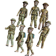 Rare Set Handcarved and Painted World War I Doughboy Soldiers