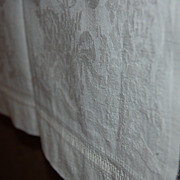 2 Vintage Damask Style Towels Heavy Cotton Rose + Ribbon