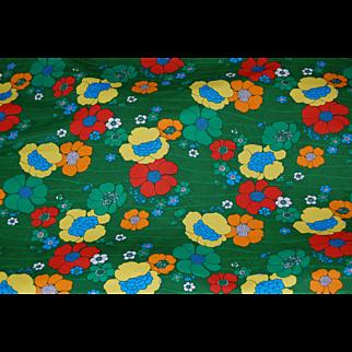 MOD Knit Fabric Flower Power 1970's