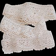 Vintage Crocheted Ecru Cotton Lace