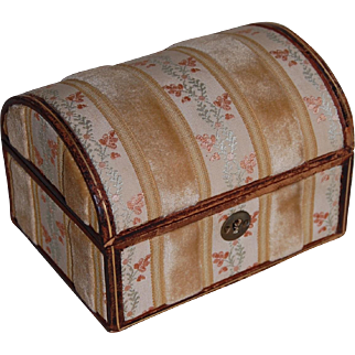 Leather and Velvet Doll Domed Trunk Souvenir of Florence