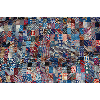Vintage Quilt Top Made of Men's Neckties with 8 Extra