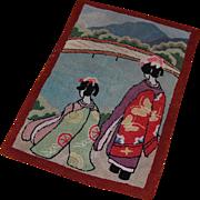 Vintage Geisha Girl Hooked Rug