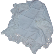 Rectangular Tablecloth with Wide Crocheted Ruffle Edge