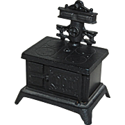 Dollhouse Size Cast Iron Stove Bank 'Cook With Cash'