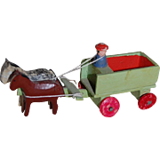 East German Putz Horse and Wagon Erzegebirge Penny Toy