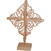 Finnish Carved Pine Curls Christmas Village Star Ornament