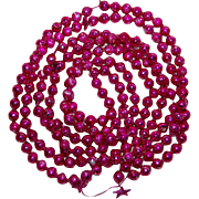 Christmas Mercury Glass Ornament Garland Big Pink Beads 100""