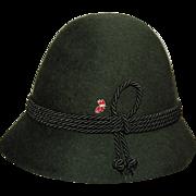 German Loden Wool Felt Hiking Hat Vintage 1980 with Ski Resort Pin