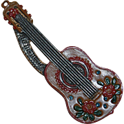 Painted Metal Guitar Vintage Ornament