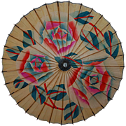 Vintage Oriental Paper and Bamboo Parasol Umbrella Brightly Colored!