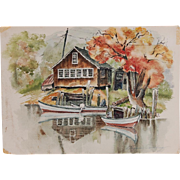 Vintage Seaside Fishing Camp with Boats Watercolor signed