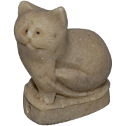 Cat Netsuke Made from Green Stone