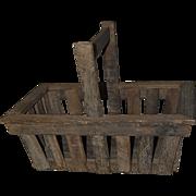 Unusual Primitive Wooden Lathe Farm Garden Vineyard Basket