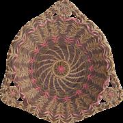 Intricate Pine Needle Handled Basket with Pink Stitchery