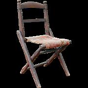 Antique Folding Wooden Camp Chair Civil War Era