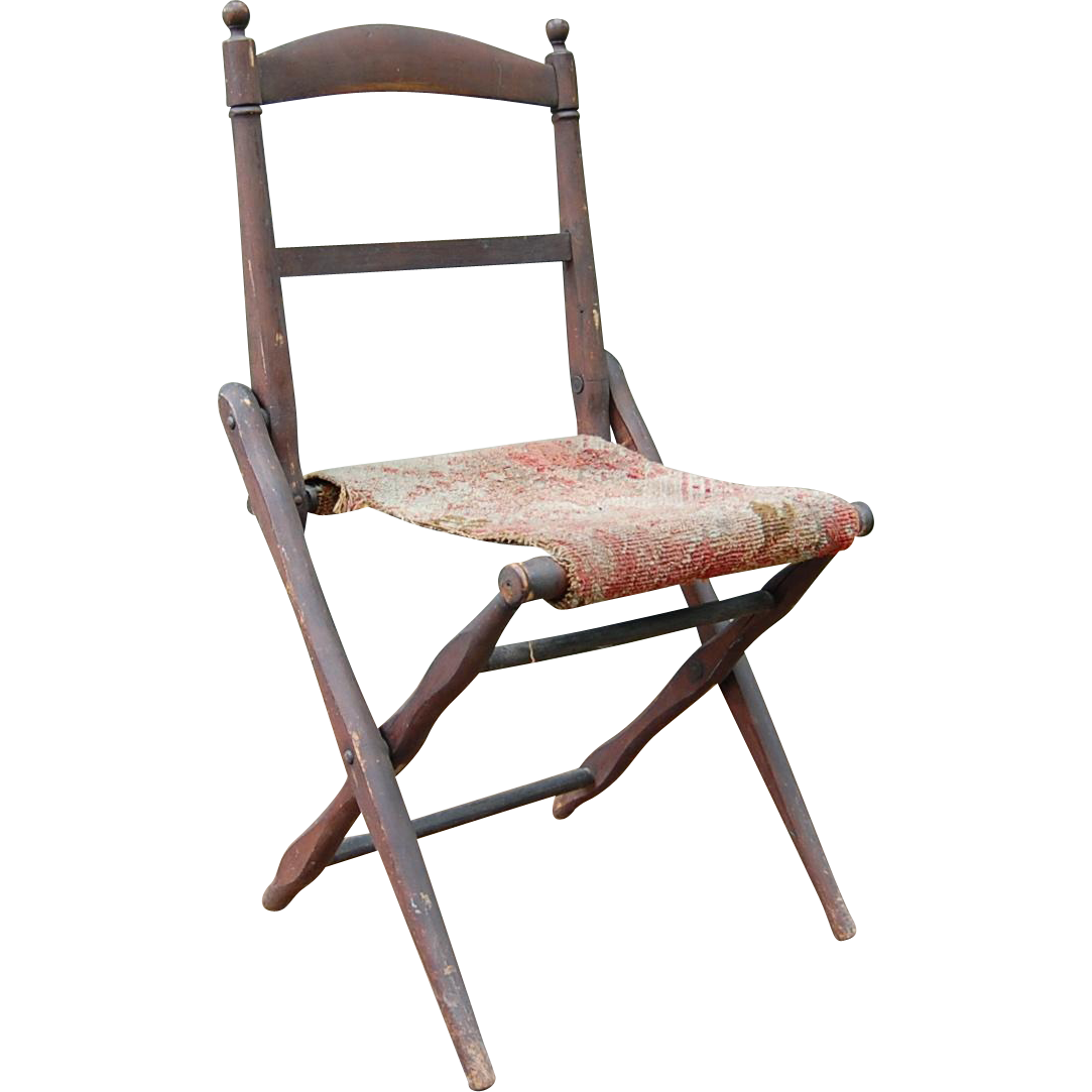 antique folding wooden camp chair civil war era from