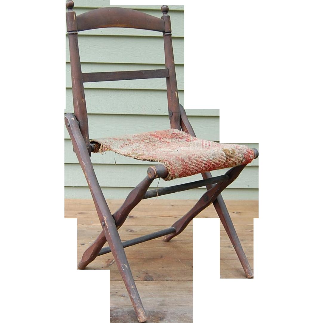 Antique Folding Wooden Camp Chair Civil War Era : Starr Hill Antiques |  Ruby Lane - Antique Folding Wooden Camp Chair Civil War Era : Starr Hill