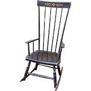 Antique Grain Painted High Back Rocking Chair