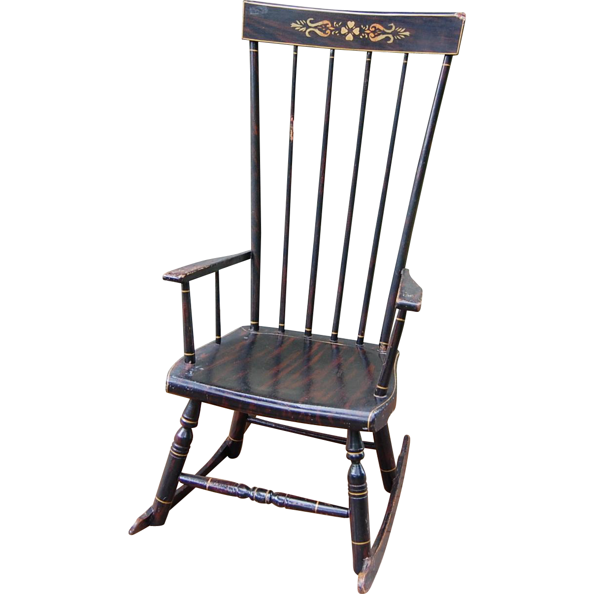 Antique Grain Painted High Back Rocking Chair from starrhillantiques ...