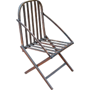 Folding Wooden Camp Chair with Patent Label 1862