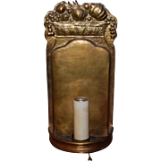 Tooled Brass Wall Sconce with Electric Candle