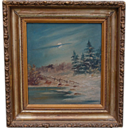Small Oil on Board Moonlight in Winter