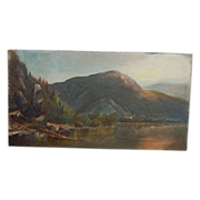 Antique Oil Painting Scene of Lake George