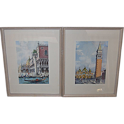 2 Watercolors of Venice San Marco Plaza and Gondola Marchetto