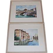 2 Signed Venetian Watercolors Grand Canal Bridge of Sighs