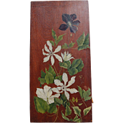 Clematis Floral Oil Still Life on Walnut Board