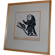 Leah Qumaluk Inuit Print She Is Running After Goose 1970