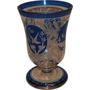 Bohemian Blue Crystal Cut Beaker Vase w/ Animals