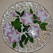 Modern Signed Art Glass Morning Glory Plate