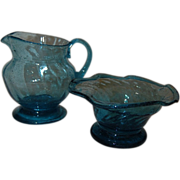 Vintage Blue Glass Creamer and Sugar Set