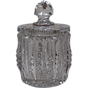 Early 1900's Crystal Condiment Jar with Lid