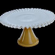 Ruffled Tall Amber to Milk Glass Cake Stand