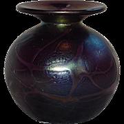 Vintage Amethyst Kralik Glass Tubby Vase
