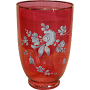 Large Moser Style Painted Cranberry Pink Vase