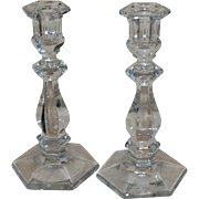 "Vintage Crystal Clear Hexagonal Base 9"" Candlesticks"