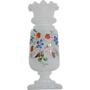 White Satin Glass Bristol Vase with Strawberries and Forget-me-nots