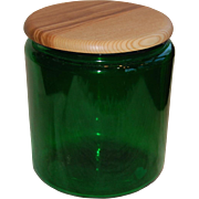 Large Green Glass Jar with turned Wooden Lid