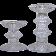 2 Festivo Glass Candle Holders Timo Sarpaneva For iittala Finland Candlesticks