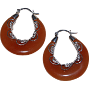 Carnelian and Dilver Filigree Ethnic Hoops