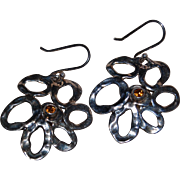 Mod Daisy Flower Hagit Gorali Israel Dangle Earring